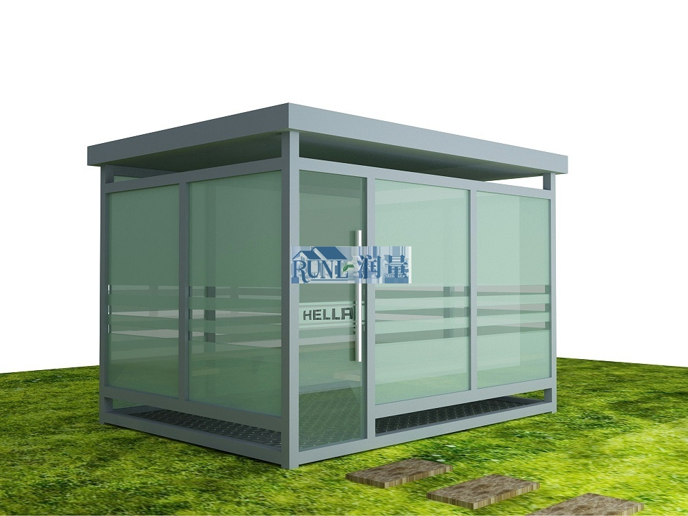 不锈钢玻璃吸烟亭
